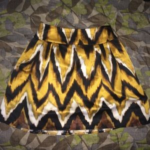 Yellow and Brown Pleated Mini Skirt